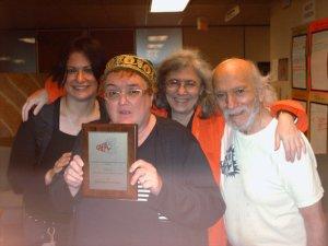 Shaindl Diamond, Sue Clark-Wittenberg holding her CAPA award, Dr. Bonnie Burstow, Don Weitz